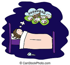 Insomnia - Girl can not sleep, so she tries counting sheep,...