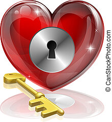 Heart lock and key concept illustration, could be symbol for...