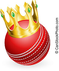 King of cricket concept, a cricket ball wearing a gold crown