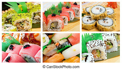 Food set of different Sushi Roll - Food set of different...