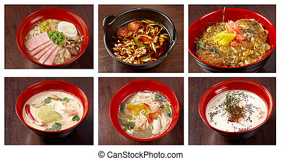 asiatic,chinese,Japanes soup collage - Food set of different...