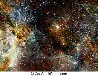 nebula gas cloud in deep outer space - illustration of a...