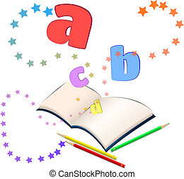 Magic of learning/ - Open book with colorful stars and...