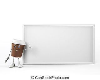 A coffee cup character - 3d rendered illustration of a...