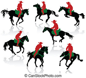 Silhouettes of cowboys on horseback