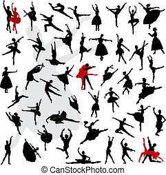 Ballet - 50 Silhouettes of ballerinas and dancer in movement...