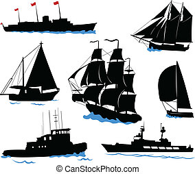 Boats - Silhouettes of offshore ships - yacht, fishing boat,...