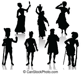 Medieval people - Silhouettes of the actors in theatrical...