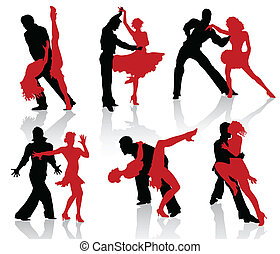 Ballroom dance - Silhouettes of the pairs dancing ballroom...