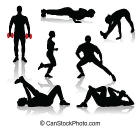 Silhouettes of exercises people