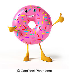 A donut character - 3d rendered illustration of a donut...