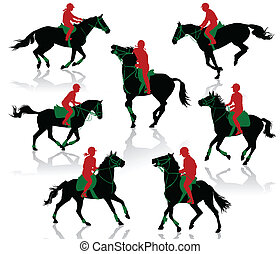 Horses competition - Silhouettes of equestrians on horses...