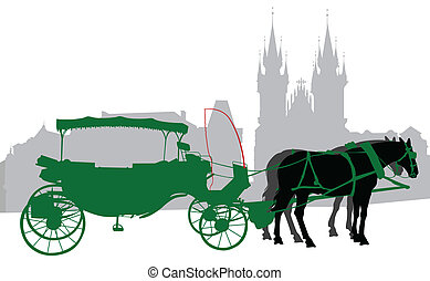 Silhouette of a carriage