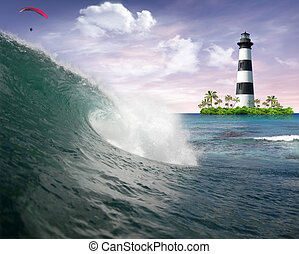 Ocean wave and lighthouse - Ocean wave with lighthouse on...