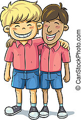 Friendship - cartoon illustration of friend relationship