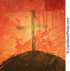 les, croix, grunge, fond, les, biblique, concept, Coucher...