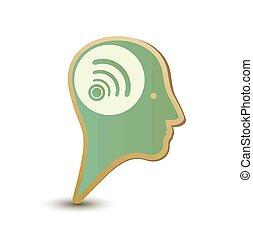 Wireless man. Label sticker. Modern concept