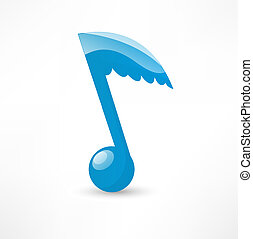 Blue musical note to the wing