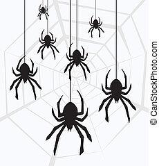 vetorial, penduradas, aranhas, teia
