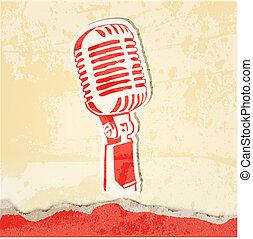 grunge, concerto, cartaz, microfone