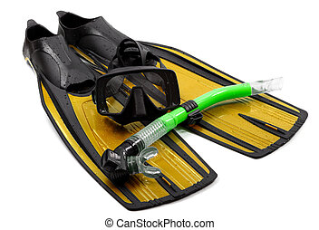 Mask, snorkel and flippers on white background.