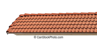 Roof tiles isolated on white background