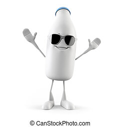 Milk bottle character - 3d rendered illustration of a milk...