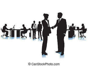 Agreement with a handshake at the office