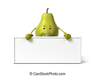Pear character - 3d rendered illustration of a pear...