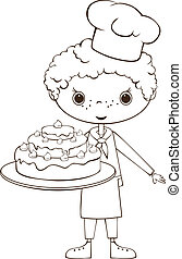 Scullion with cake - Outline illustration - Scullion with...