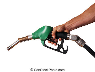 Fuel - Male hand holding green pump isolated on white