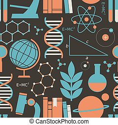 Science Background - Seamless pattern with science and...