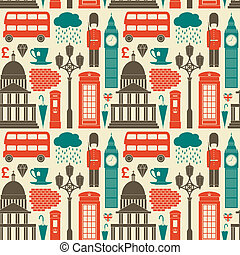 London Background - Seamless pattern with London symbols and...