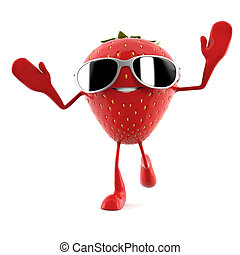 a strawberry character - 3d rendered illustration of a...