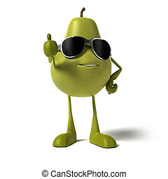 a pear character - 3d rendered illustration of a pear...