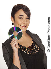 Young woman holding a CD-R to the camera.