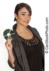 Young woman holding a CD-R to the camera