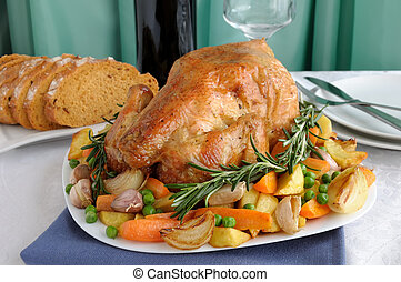 Roasted Chicken with Vegetablesa - Baked chicken with...
