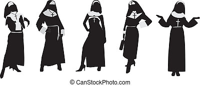 Silhouettes of nuns.Vector