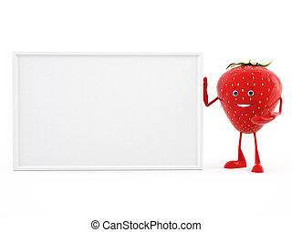 strawberry character - 3d rendered illustration of a...