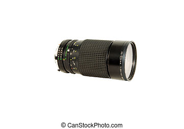 Telephoto lens - An 45-300mm tele photo lens in black on...