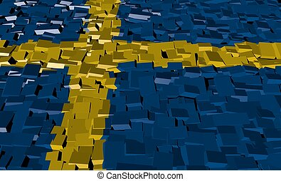 Sweden flag on blocks illustration