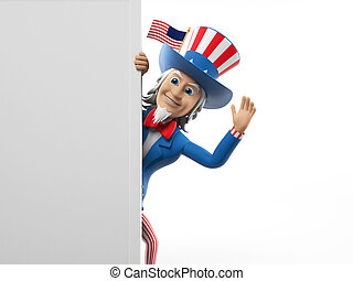 Uncle Sam - 3d rendered illustration of an Uncle Sam