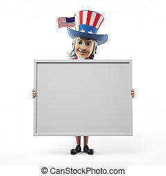 Uncle Sam - 3d rendered illustration of an Uncle Sam