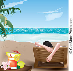 girl on deckchair - Beautiful girl lying on deckchair on the...