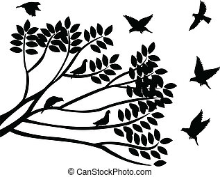 silhouettes of birds and branch