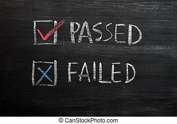 Check boxes for passed and failed with tick and cross on a...