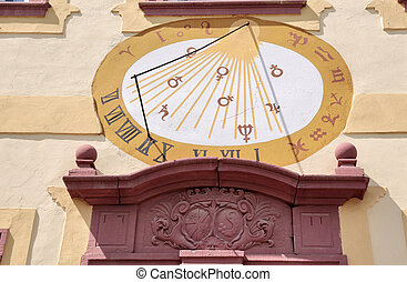 Sundial on a building in Palace of Vollrads in Winkel,...