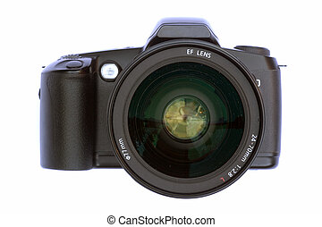 Camera with big lens - A slr camera with large lens looking...