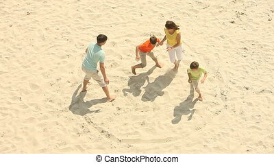 Catch me if you can - Active family spending time on the...